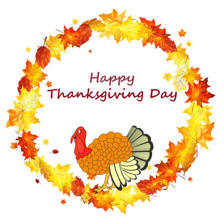 thanksgiving day symbol: Thanksgiving Day sfondo con le foglie d'acero. Tutti gli oggetti sono separati. Illustrazione vettoriale con trasparenza. Vettoriali
