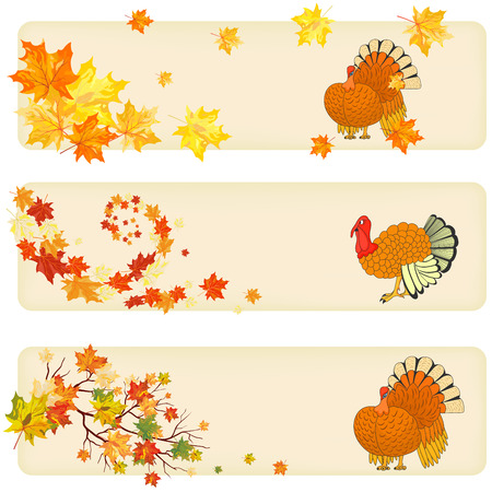 Thanksgiving Day background with maple leaves. All objects are separated. Vector illustration with transparency and meshes.  Illustration