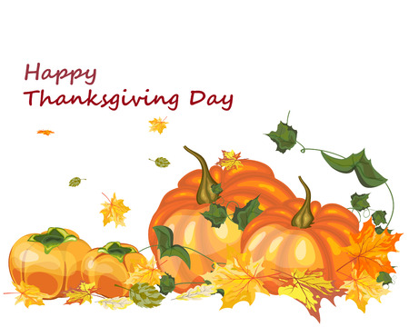 all day: Thanksgiving Day background with maple leaves. All objects are separated. Vector illustration with transparency.  Illustration