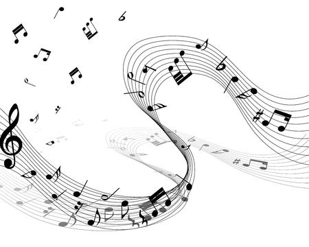 pentagrama musical: Personal de la nota musical. EPS 10 ilustración vectorial sin transparencia.