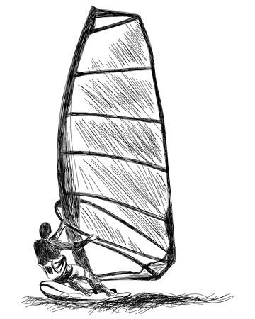 windsurfing: Windsurf en boceto.