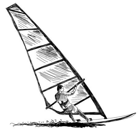 Windsurfen in der Skizze.