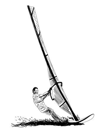 Windsurfing sketch. Ilustração Vetorial