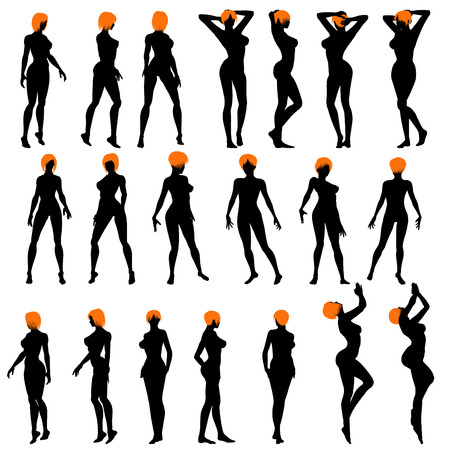 naked silhouette: Naked sexy girls silhouette set. Very smooth and detailed with color hairstyle. Vector illustration.