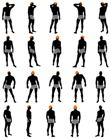 Set of men silhouette. Very smooth and detailed with color hairstyle. Vector illustration.