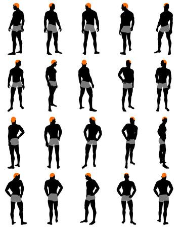 Set di uomini silhouette. Molto liscia e dettagliata con il colore acconciatura. Illustrazione vettoriale. Archivio Fotografico - 29386595