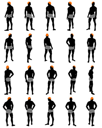 naked male: Set of men silhouette. Very smooth and detailed with color hairstyle. Vector illustration.