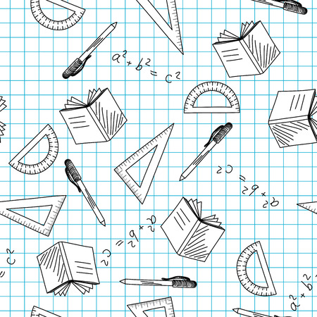 protractor: Back to school theme seamless background  Vector illustration