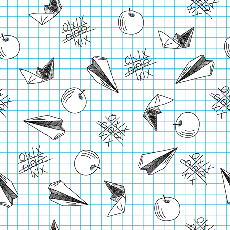 tic tac toe: Back to school theme seamless background  Vector illustration