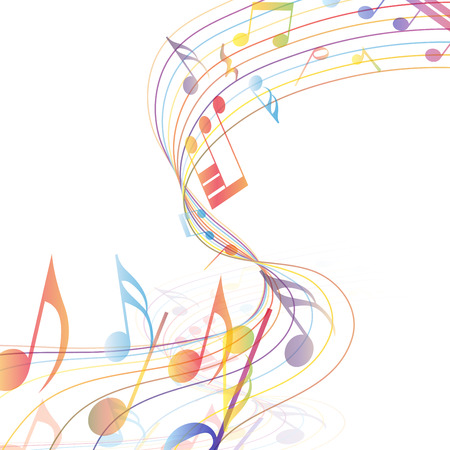 Multicolor musical note staff background. Vector illustration EPS 10 with transparency.