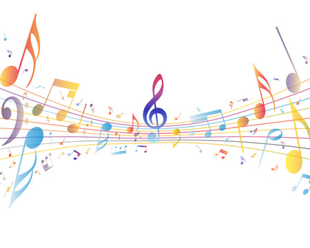 music dj: Multicolor musical note staff background. Vector illustration EPS 10 with transparency.
