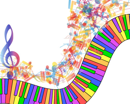 Multicolor musical note staff background. Vector illustration EPS 10 with transparency. Vector