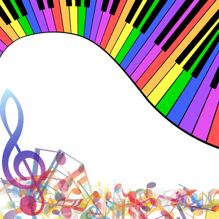 keyboard music: Multicolor musical note staff background. Vector illustration EPS 10 with transparency.