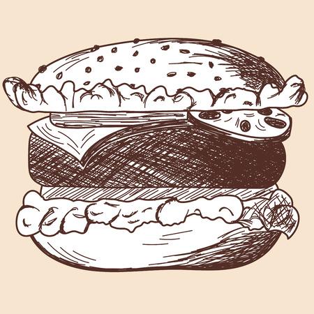 sandwich restaurant: Hamburger sketch. EPS 10 vector illustration without transparency.  Illustration