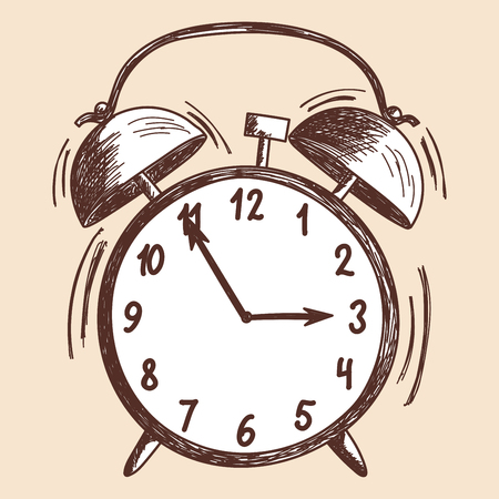 Alarm clock sketch. EPS 10 vector illustration without transparency.  Vector