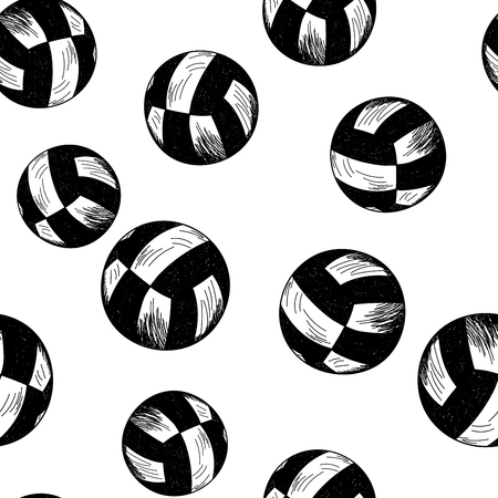 volleyball team: Volleyball theme seamless pattern in sketch style
