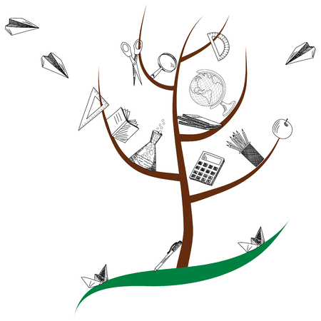 School tree with education objects Vector