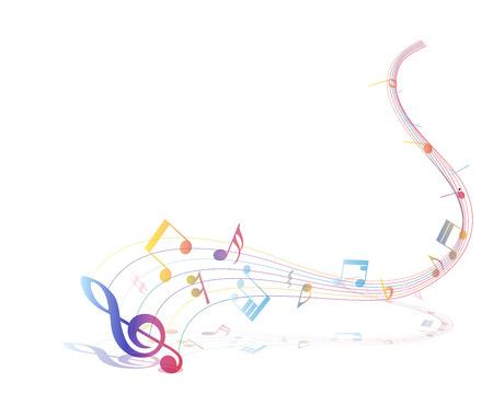Multicolor muzieknoot personeel achtergrond.