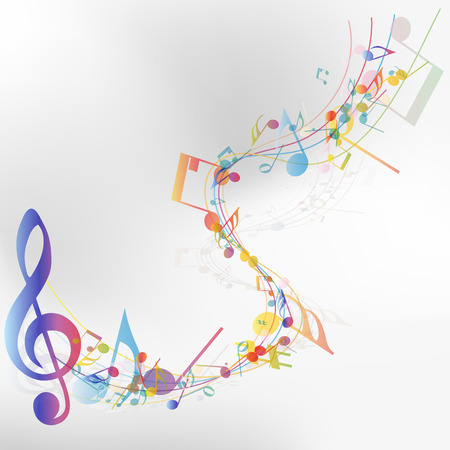 Multicolor musical note staff background.