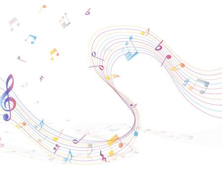 多色音符スタッフ背景。  イラスト・ベクター素材