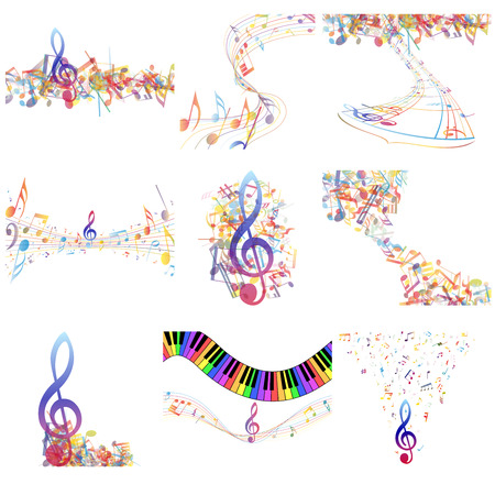 Multicolour  musical notes staff set. Vector illustration with transparency EPS10.
