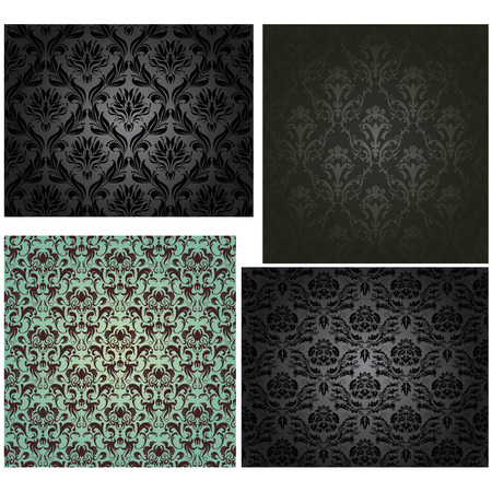 Damask seamless vector pattern set.  For easy making seamless pattern just drag all group into swatches bar, and use it for filling any contours. Vector