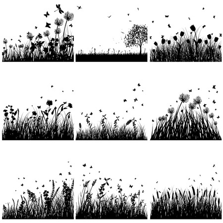 Vector grass silhouette set. All objects are separated.  イラスト・ベクター素材