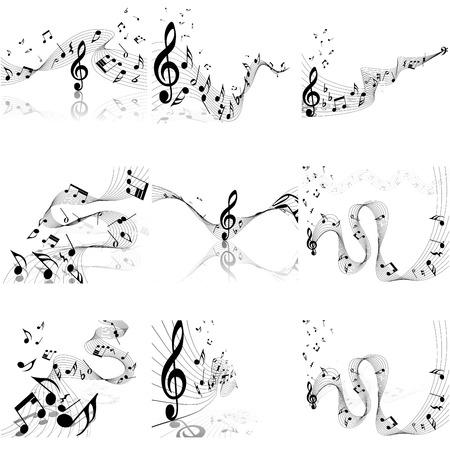pentagrama musical: Notas musicales de conjunto del personal. Ilustración del vector con la transparencia EPS10. Vectores