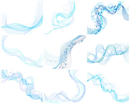 Abstract backgrounds set in water wave style. Vector illustration without transparency  EPS 10. Vector