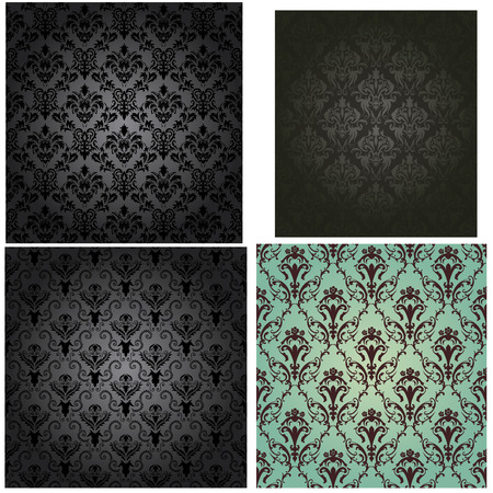 swatches: Damask seamless vector pattern set.  For easy making seamless pattern just drag all group into swatches bar, and use it for filling any contours. Illustration