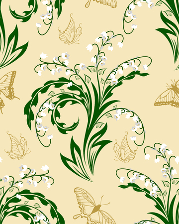 Seamless vector floral pattern. For easy making seamless pattern just drag all group into swatches bar, and use it for filling any contours. EPS 10. Vector