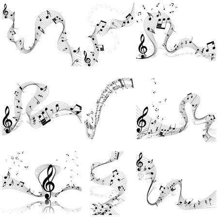 minim music note: Musical notes staff set. Vector illustration with transparency EPS10.