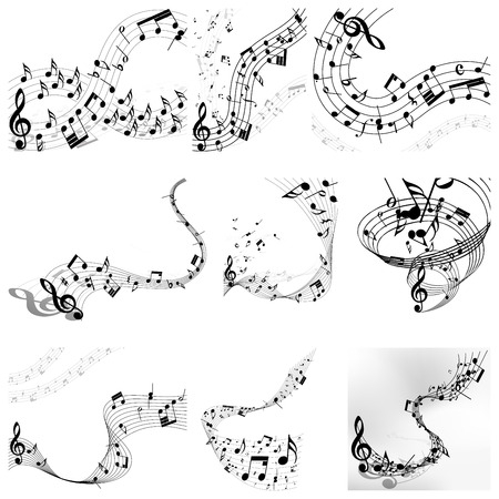 Musical notes staff set. Vector illustration with transparency EPS10.