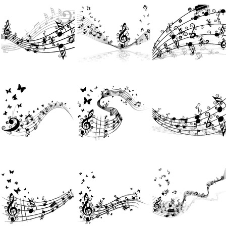 trill: Musical notes staff set. Vector illustration with transparency EPS10.
