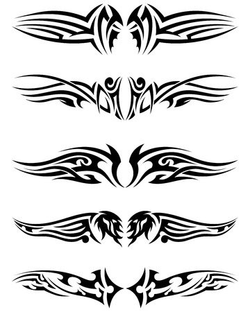 crimp: Set tribal tattoos. EPS 10 vector illustration without transparency.