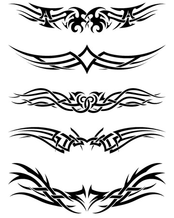 Set tribal tattoos. EPS 10 vector illustration without transparency. Vector