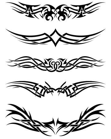 Set Tribal Tattoos. EPS 10 Vektor-Illustration ohne Transparenz. Standard-Bild - 30394781