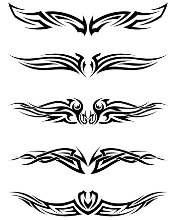 Set tribal tattoos. EPS 10 vector illustration without transparency.