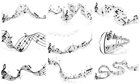 trill: Musical notes staff set. Vector illustration without transparency EPS10.