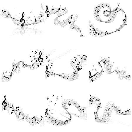 pentagrama musical: Notas musicales conjunto del personal. Ilustración vectorial sin EPS10 transparencia. Vectores