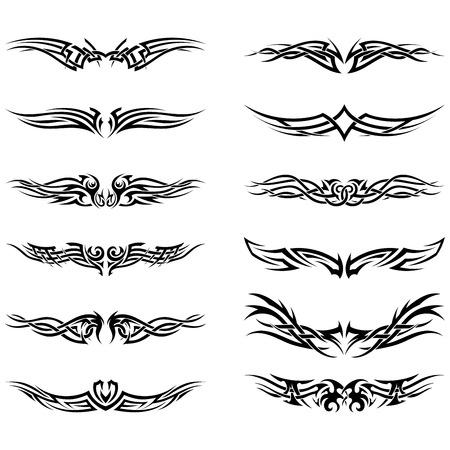 Set of tribal tattoos. EPS 10 vector illustration without transparency.
