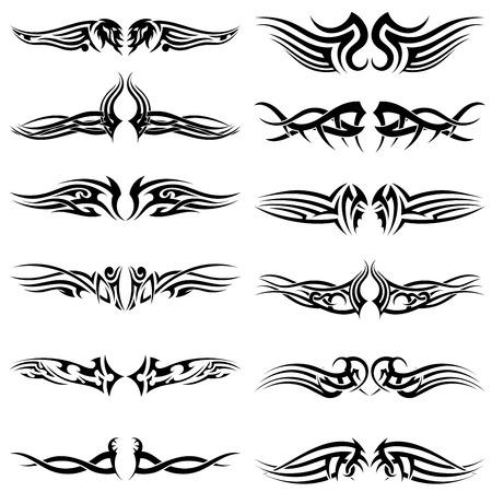 Set di tatuaggi tribali. EPS 10 illustrazione vettoriale senza trasparenza.