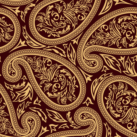 paisley seamless pattern: Oriental cucumbers seamless vector pattern.  For easy making seamless pattern just drag all group into swatches bar, and use it for filling any contours.