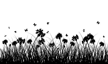 black and white plant: Meadow background with butterflies. All objects are separated. Vector illustration without transparency. Eps 10. Illustration