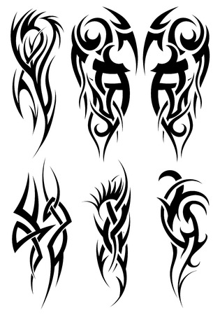 abstract tattoo: Set of tribal tattoos. EPS 10 vector illustration without transparency.