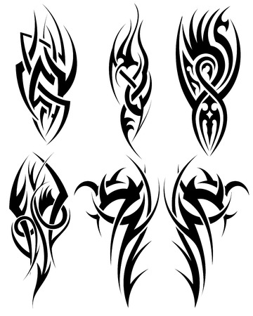 tribal tattoo design: Set of tribal tattoos. EPS 10 vector illustration without transparency.