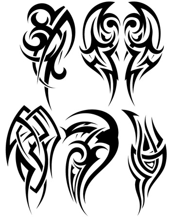tattoo drawings: Set of tribal tattoos. EPS 10 vector illustration without transparency.