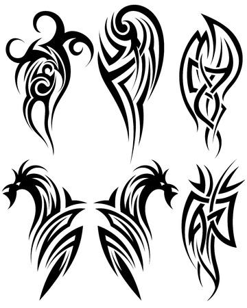 Set van tribale tatoeages. EPS 10 vector illustratie zonder transparantie.