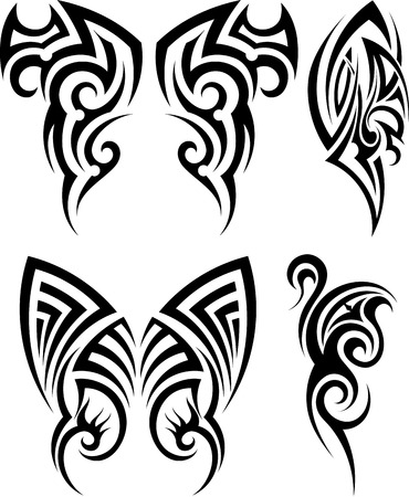 maori: Set of tribal tattoos. EPS 10 vector illustration without transparency.