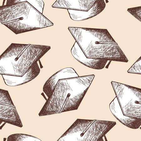 caps: Graduation cap seamless doodle pattern. EPS 10 vector illustration without transparency. Illustration